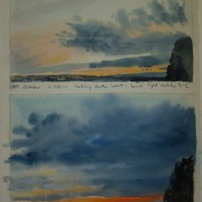 Studies of skies looking south west at 6.20pm and 6.34pm- watercolour in sketchbook