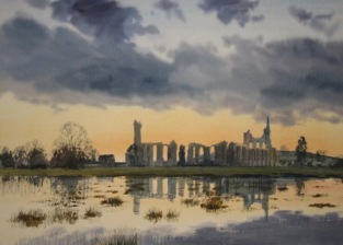 Floods at Byland Abbey last February- watercolour