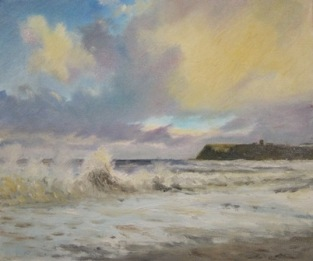 Stormy sea at Scarborough- oil