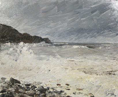 Storm at Sandsend, oil SOLD