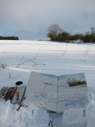 Snow fields- painting in sketchbook. Minus 2 celsius, snow showers.