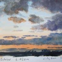 Watercolour sketch in sketchbook- dawn 3rd October looking ESE
