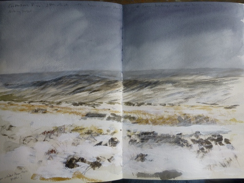 Castleton Rigg from Westerdale moor, 26th March- watercolour, acrylic and crayon in sketchbook