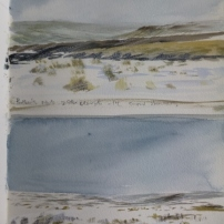 Potter's Nab and Rosedale Head, 26th March- watercolour in sketchbook