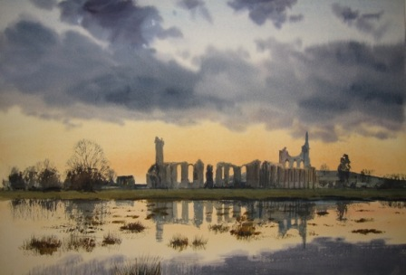 Byland Abbey and winter floods- printed area 400mm x 272mm  £75