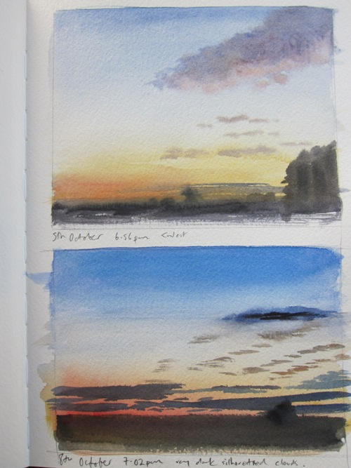 October skies- watercolour in sketchbook
