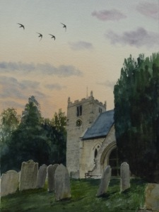 Swift's over St Hida's church, Ampleforth- watercolour