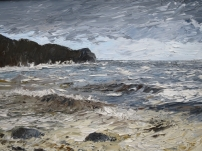 Storm at Sandsend. Oil. Available at my studio. £450.