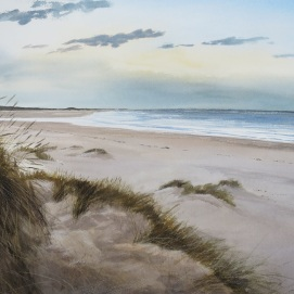 Holkham Bay, Norfolk. Watercolour. At Birdscapes Gallery, Norfolk.