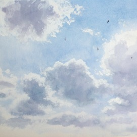 Swifts in summer cumulus sky. Watercolour. Available at Nunnington Galleries.