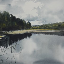Ampleforth Lower Lake. Watercolour. Available at my studio.