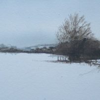 Snow near Gilling East. Watercolour.