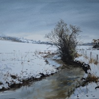 Snow at Holbeck, Gilling East. Watercolour.