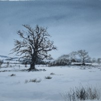 Snow near the village hall, Gilling East. Watercolour.